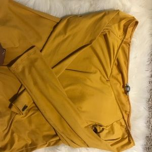 Off the shoulder mustard yellow long sleeve top